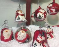 Glass Hand Painted Snowman & Father Christmas Baubles ~ Set of 4 Assorted
